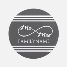 Mr. Mrs. Infinity Gray Stripes Personalize Button