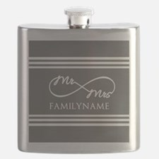 Mr. Mrs. Infinity Gray Stripes Personalized Flask