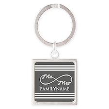 Mr. Mrs. Infinity Gray Stripes Pe Square Keychain