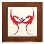 Square and Red Dragons Framed Tile