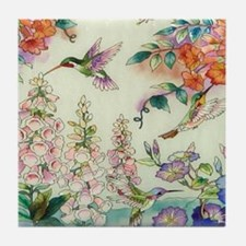 hummingbirds and flowers Tile Coaster