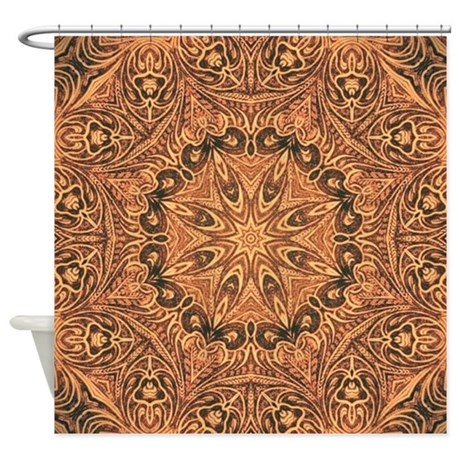Tooled Leather Western Country Shower Curtain By Listing