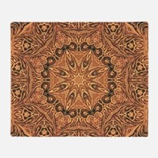 tooled leather western country  Throw Blanket
