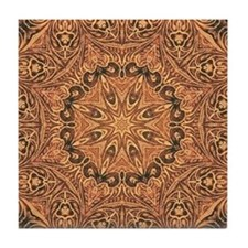 tooled leather western country  Tile Coaster