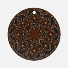 tooled leather western country  Round Ornament