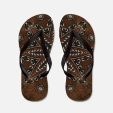 tooled leather western country  Flip Flops