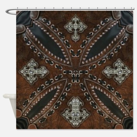 tooled leather western country  Shower Curtain