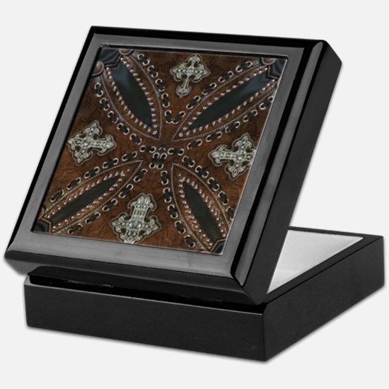 tooled leather western country  Keepsake Box