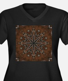 brown leather western country Plus Size T-Shirt