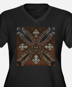 tooled leather western country Plus Size T-Shirt