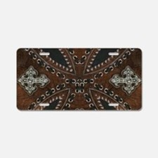 tooled leather western coun Aluminum License Plate