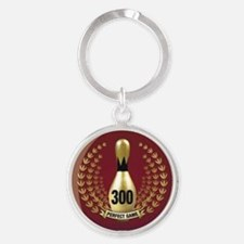 BOWLING - 300 - PERFECT GAME Round Keychain
