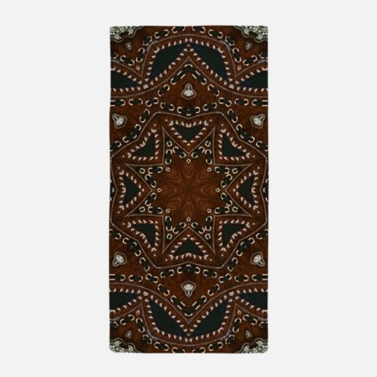 tooled leather western country Beach Towel