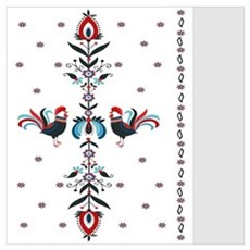 polish folk pattern with roostrs Poster