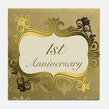 Fancy 1st Wedding Anniversary Tile Coaster