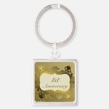 Fancy 1st Wedding Anniversary Keychains