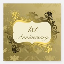"Fancy 1st Wedding Annive Square Car Magnet 3"" x 3"""