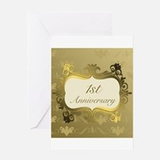 Fancy 1st Wedding Anniversary Greeting Cards