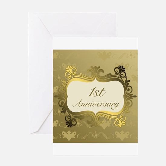Fancy 1st Wedding Anniversary Greeting Cards