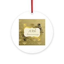 Fancy 10th Wedding Anniversary Ornament (Round)