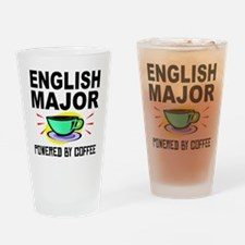 English Major Powered By Coffee Drinking Glass