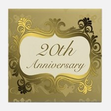 Fancy 20th Wedding Anniversary Tile Coaster