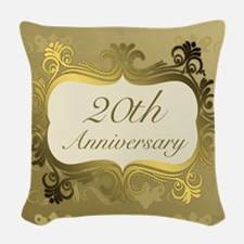 Fancy 20th Wedding Anniversary Woven Throw Pillow
