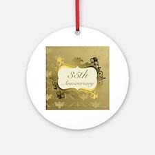 Fancy 35th Wedding Anniversary Ornament (Round)
