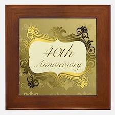 Fancy 40th Wedding Anniversary Framed Tile