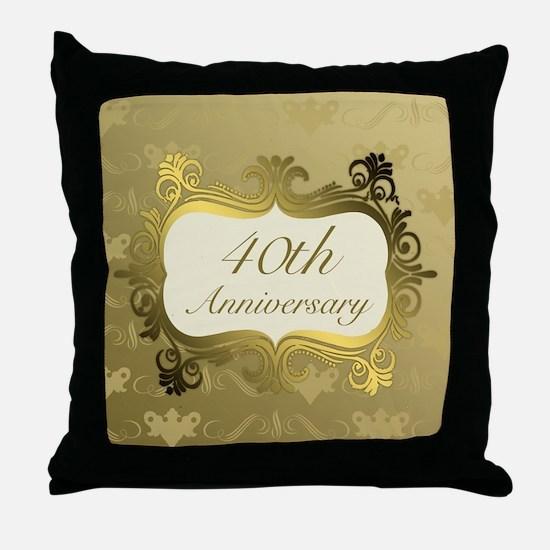 Fancy 40th Wedding Anniversary Throw Pillow