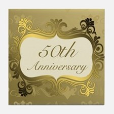 Fancy 50th Wedding Anniversary Tile Coaster