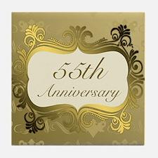 Fancy 55th Wedding Anniversary Tile Coaster