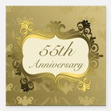 "Fancy 55th Wedding Anniv Square Car Magnet 3"" x 3"""