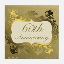 Fancy 60th Wedding Anniversary Tile Coaster