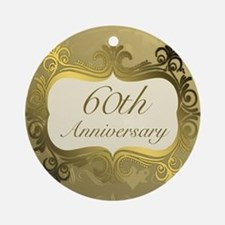 Fancy 60th Wedding Anniversary Ornament (Round)