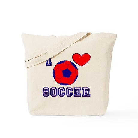 I Love Soccer Blue Tote Bag