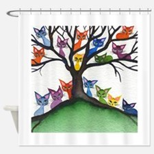 Vista Stray Cats in Tree Shower Curtain