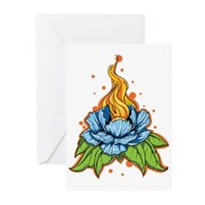 Flaming Blue Flower Greeting Cards
