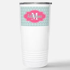 Pink Monogram and Mint Travel Mug