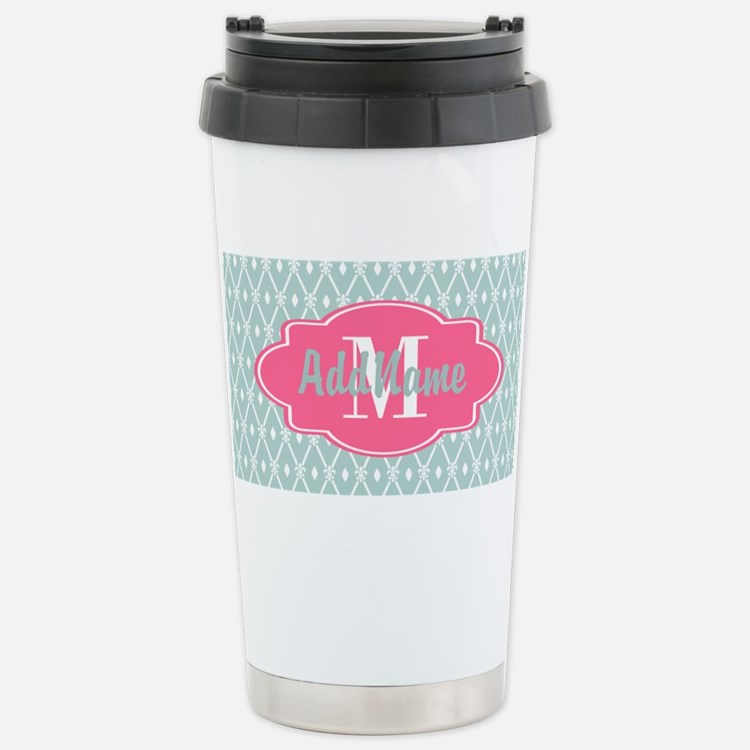 Pink Monogram and Mint Travel Mug