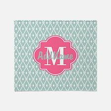 Pink Monogram and Mint Trellis Throw Blanket