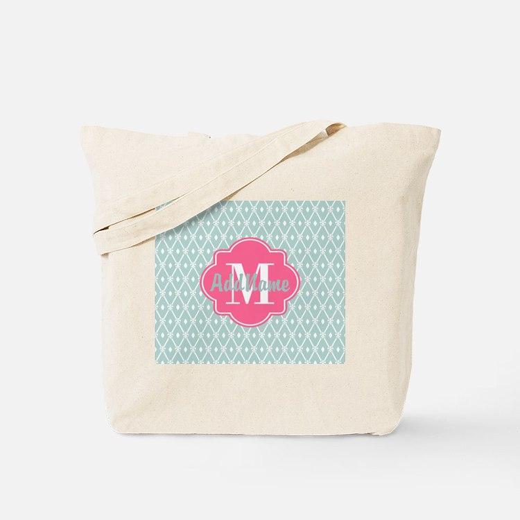 Pink Monogram and Mint Trellis Tote Bag