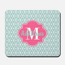 Pink Monogram and Mint Trellis Mousepad