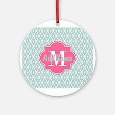 Pink Monogram and Mint Trellis Ornament (Round)
