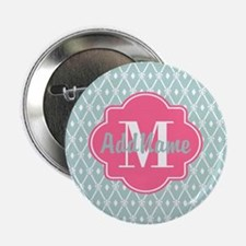 "Pink Monogram and Mint Trellis 2.25"" Button"