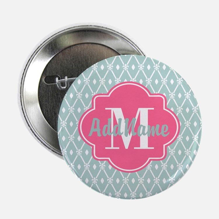 "Pink Monogram and Mint Tre 2.25"" Button (100 pack)"