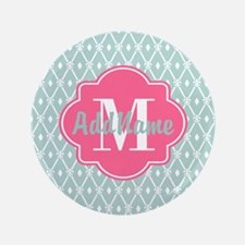 Pink Monogram and Mint Trellis Button