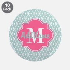 """Pink Monogram and Mint Trell 3.5"""" Button (10 pack)"""