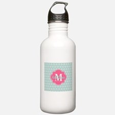 Pink Monogram and Mint Water Bottle