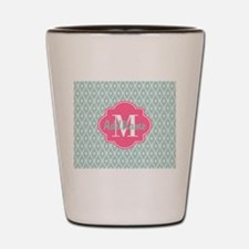 Pink Monogram and Mint Trellis Shot Glass